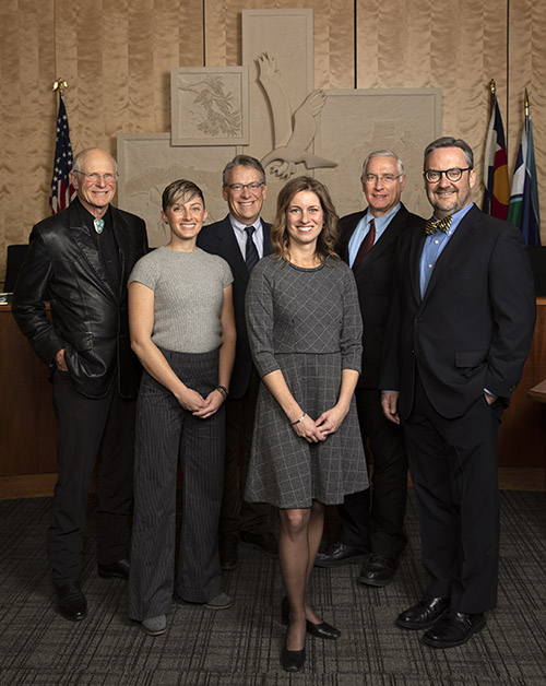 2020 Council Members Jim Dale, JJ Trout, Rob Reed, Mayor Laura Weinberg, Paul Haseman and Casey Brown