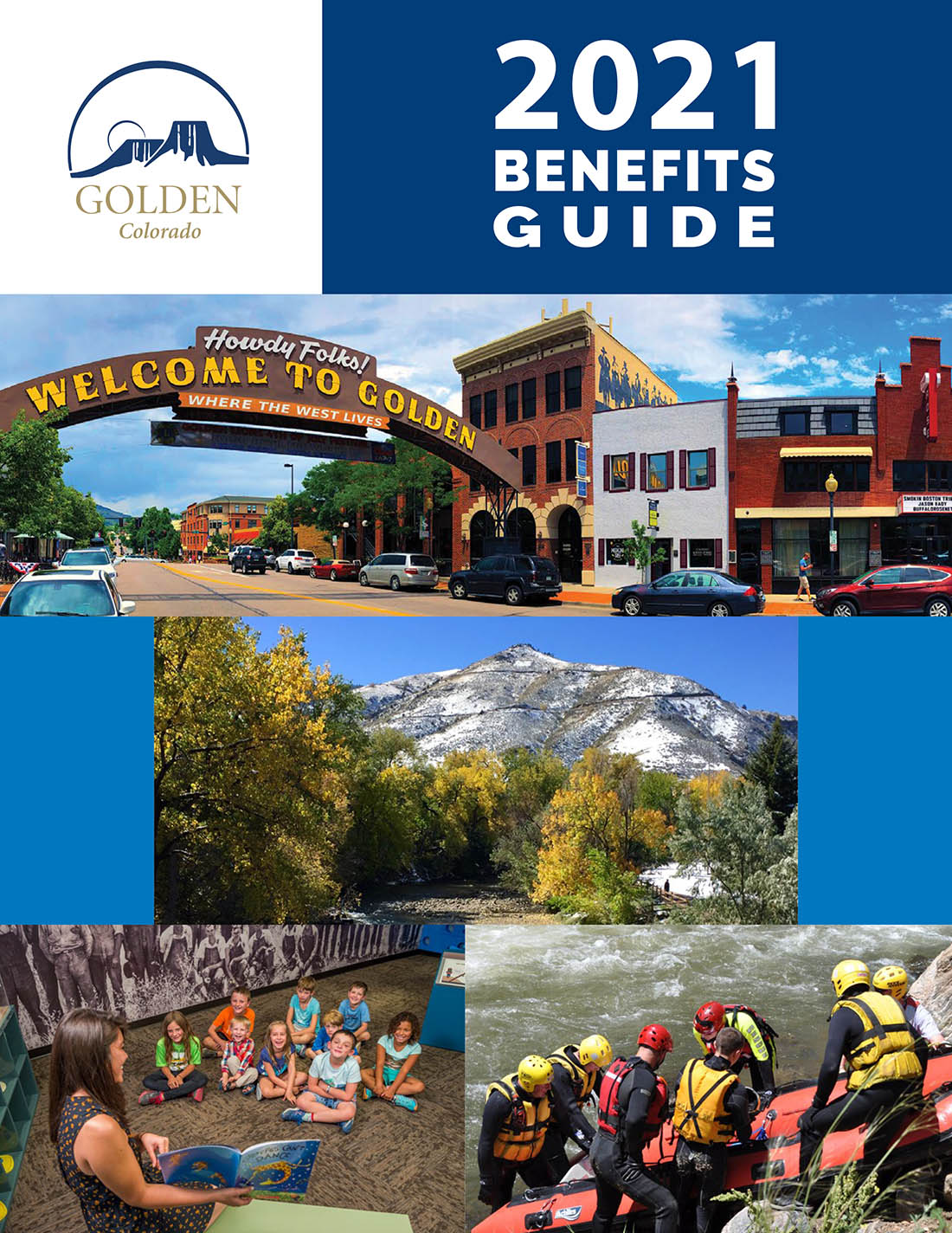 2021 Benefits Enrollment Guide front cover with a collage of images of Golden scenery