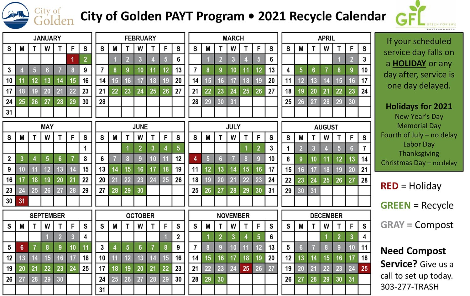 Golden schedule for compost and recycling pick-up 2021