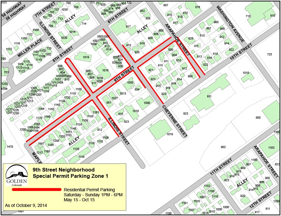 9th Street Permit Parking - Zone 1
