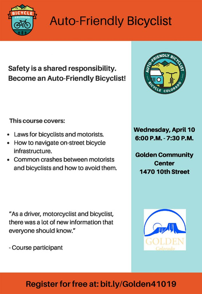 CANCELED: Auto-friendly Bicyclist Course @ Golden Community Center