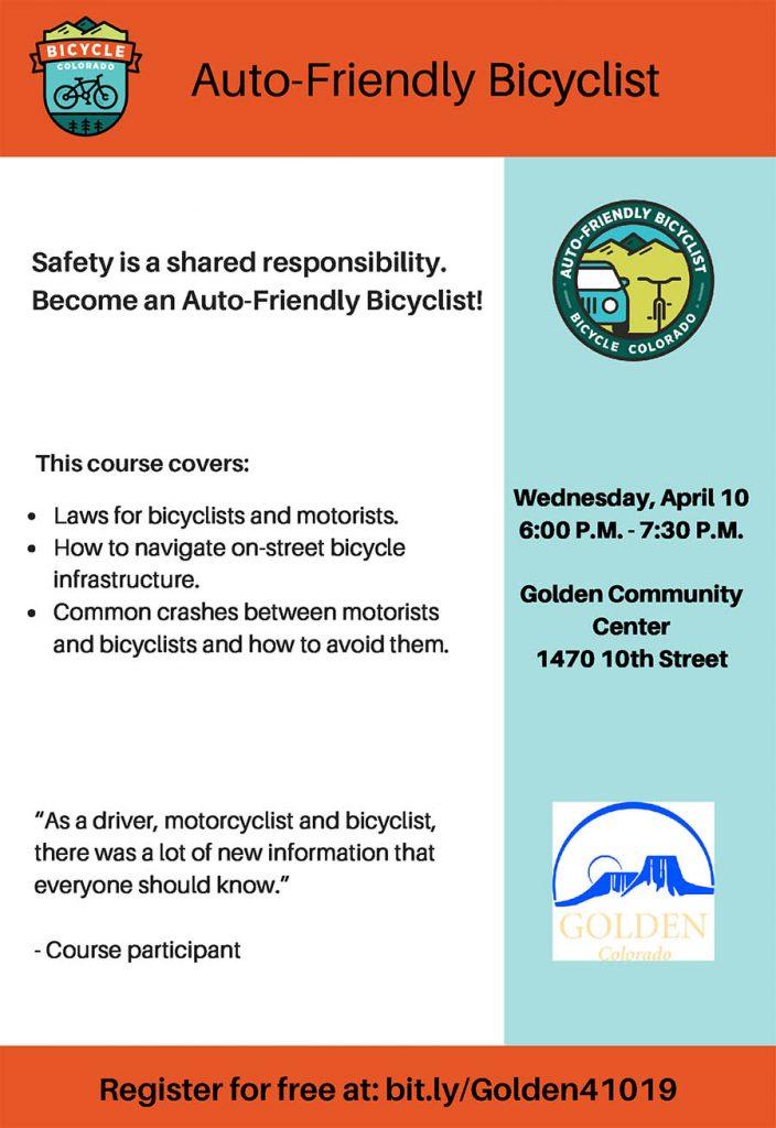 CANCELED: Auto-friendly Bicyclist Course @ Golden Community Center