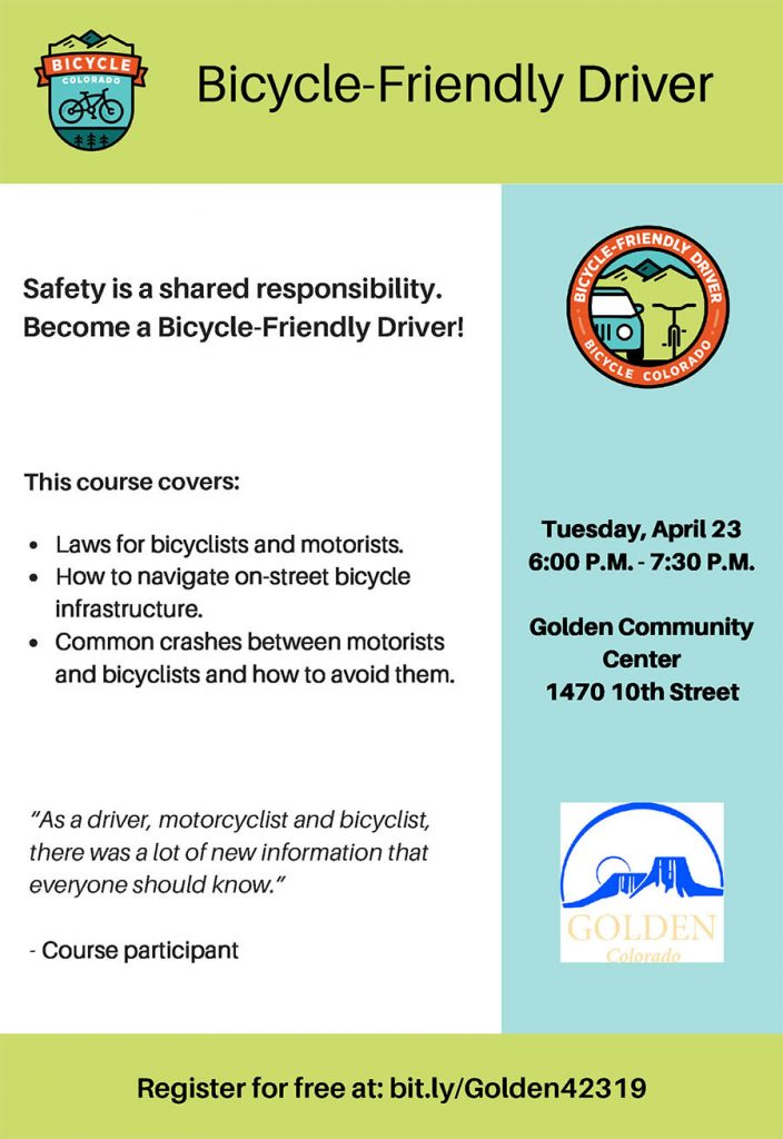 Bicycle-friendly Driver Course @ Golden Community Center