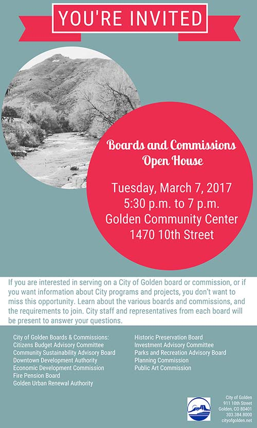 Boards & Commissions Open House 2017 @ Golden Community Center