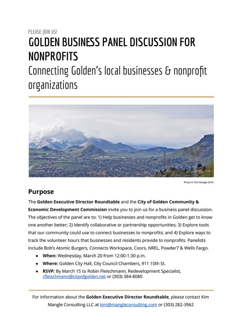Golden Business Panel for Non-profits @ Council Chambers