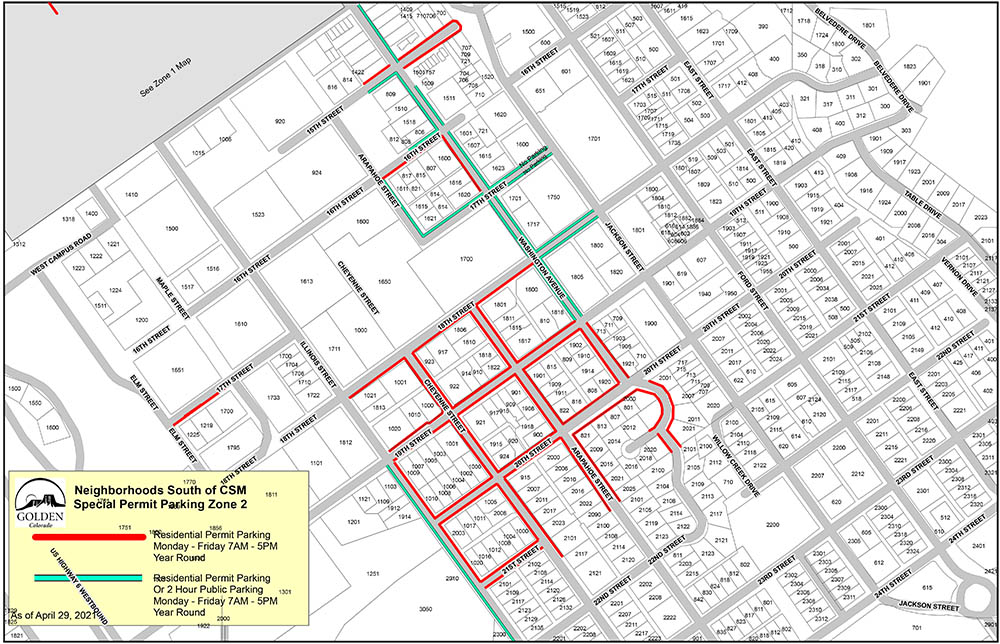 Map of the CSM Zone 2 South Residential Area with Permit Parking