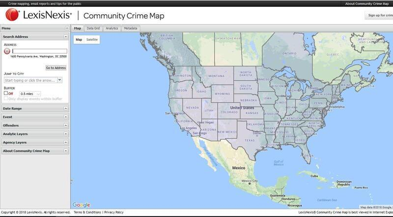 Home page view of the Crime Map on Lexis Nexis