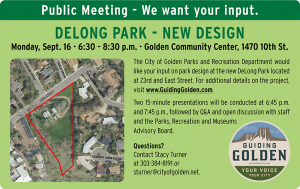 DeLong Park Planning Public Meeting @ Golden Community Center | Golden | Colorado | United States