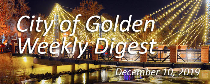 Banner with Christmas lights for the Dec 10 2019 Weekly Digest