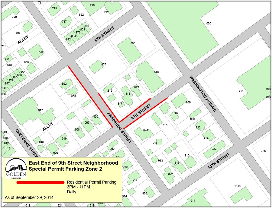 9th Street East End Permit Parking - Zone 2