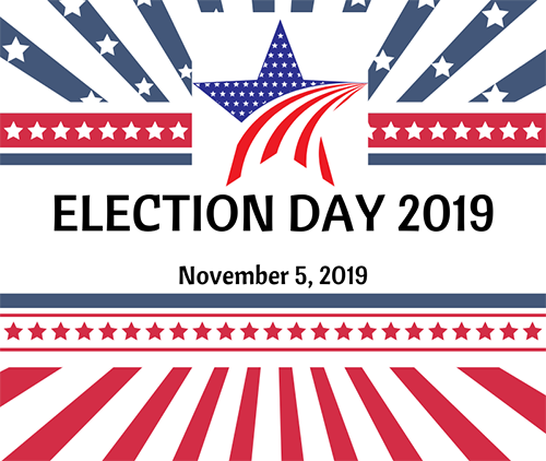 Graphic with star and stripes for Election Day 2019