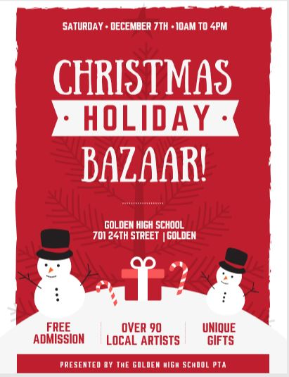 Hoiday Bazaar flyer with snowmen. December 7, 10 a.m. - 4 p.m.