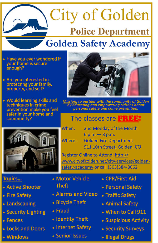 Golden Safety Academy @ Golden Fire Department Training Room | Golden | Colorado | United States