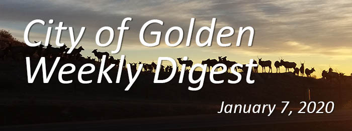 Weekly Digest banner for January 7 2020 - elk at sunset