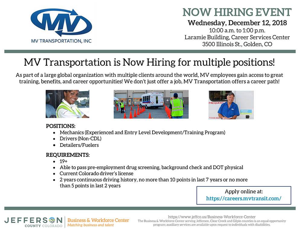MV Transportation Now Hiring Event