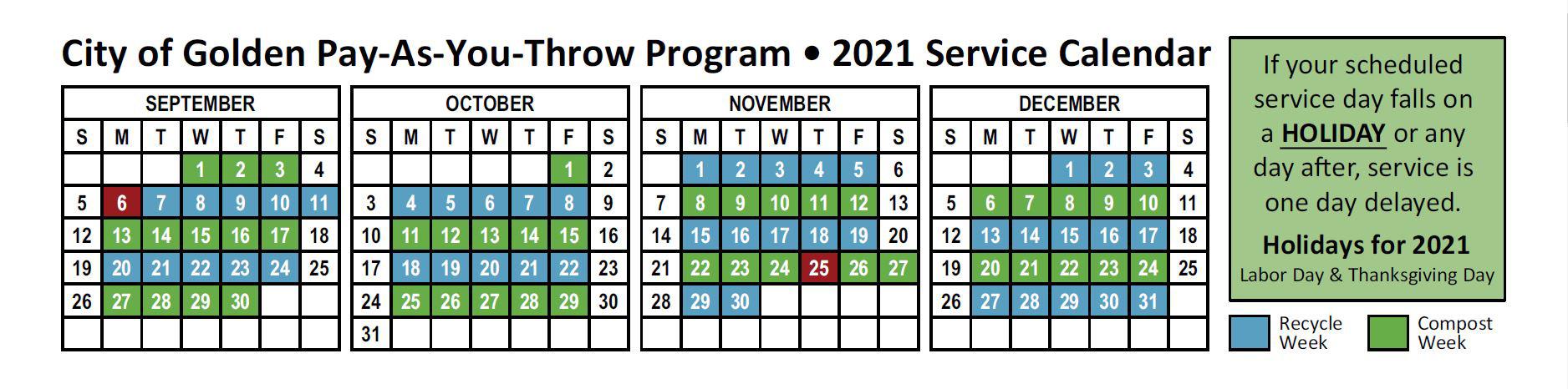 Revised 2021 PAYT Calendar