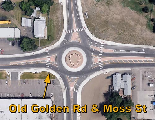 Old Golden Rd & Moss St Roundabout