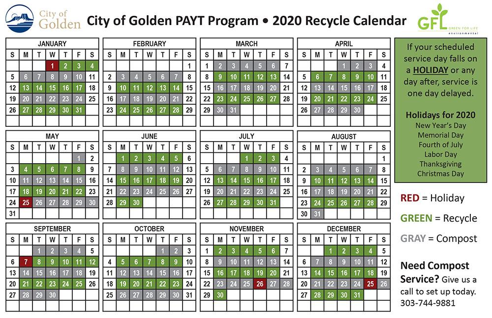 2020 PAYT Calendar