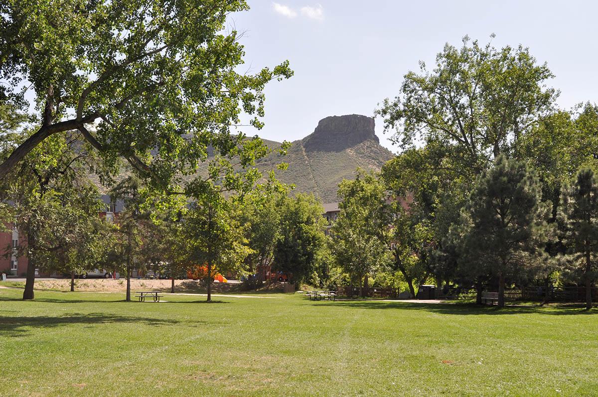 Parfet Park with a view of Castle Rock