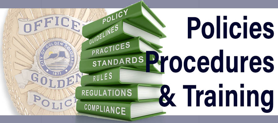 Police badge and a pile of books with the words Policies Procedures and Training