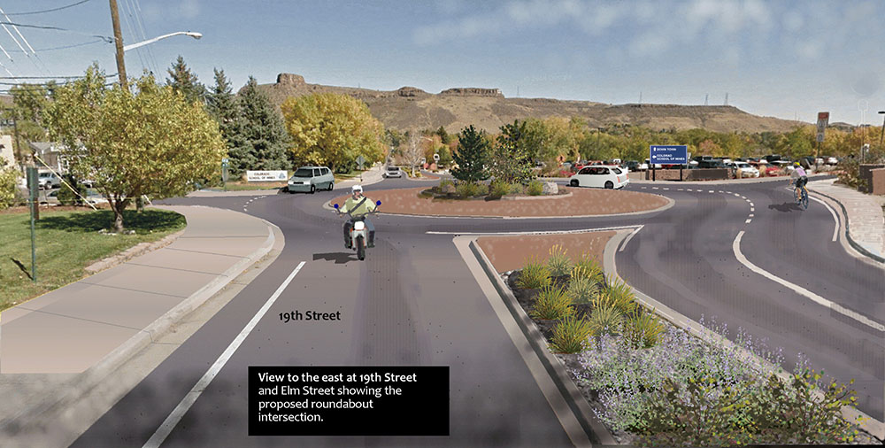 View to the east at 19th St. and Elm showing proposed roundabout
