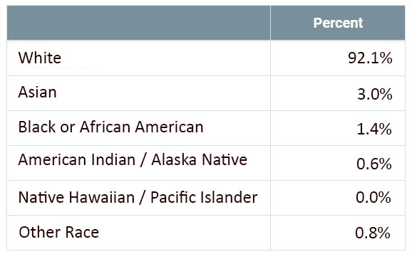 Table detailing the racial diversity in Golden