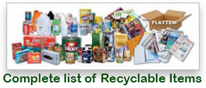 Recyclable Items complete list