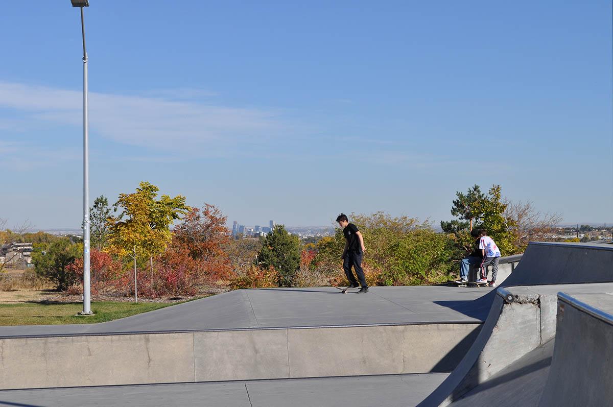 Ulysses Skate Park with view of Denver