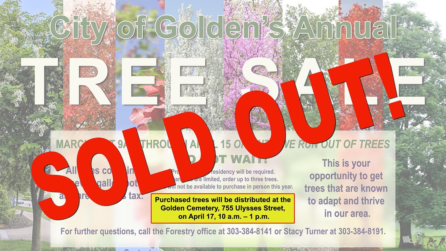 Tree Sale - all trees are Sold Out
