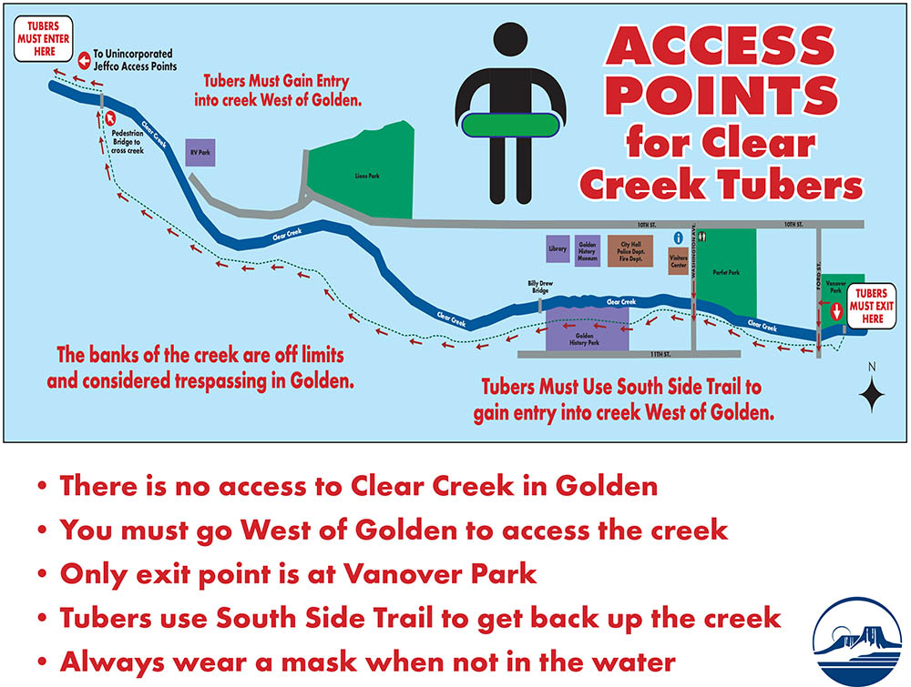 Clear Creek tuber access points map.