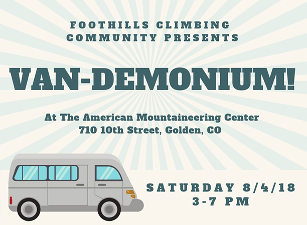 Van-demonium at the American Mountaineering Center @ American Mountaineering Center | Golden | Colorado | United States