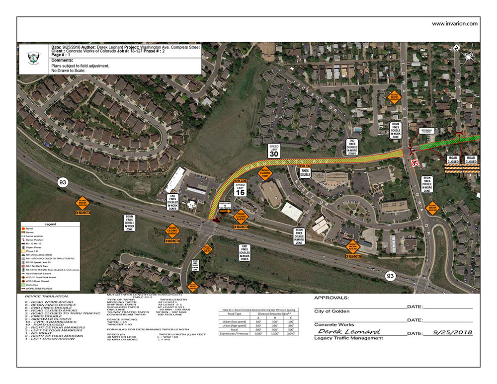 Washington Ave Project Map of Phase 2 Road Closures page 1