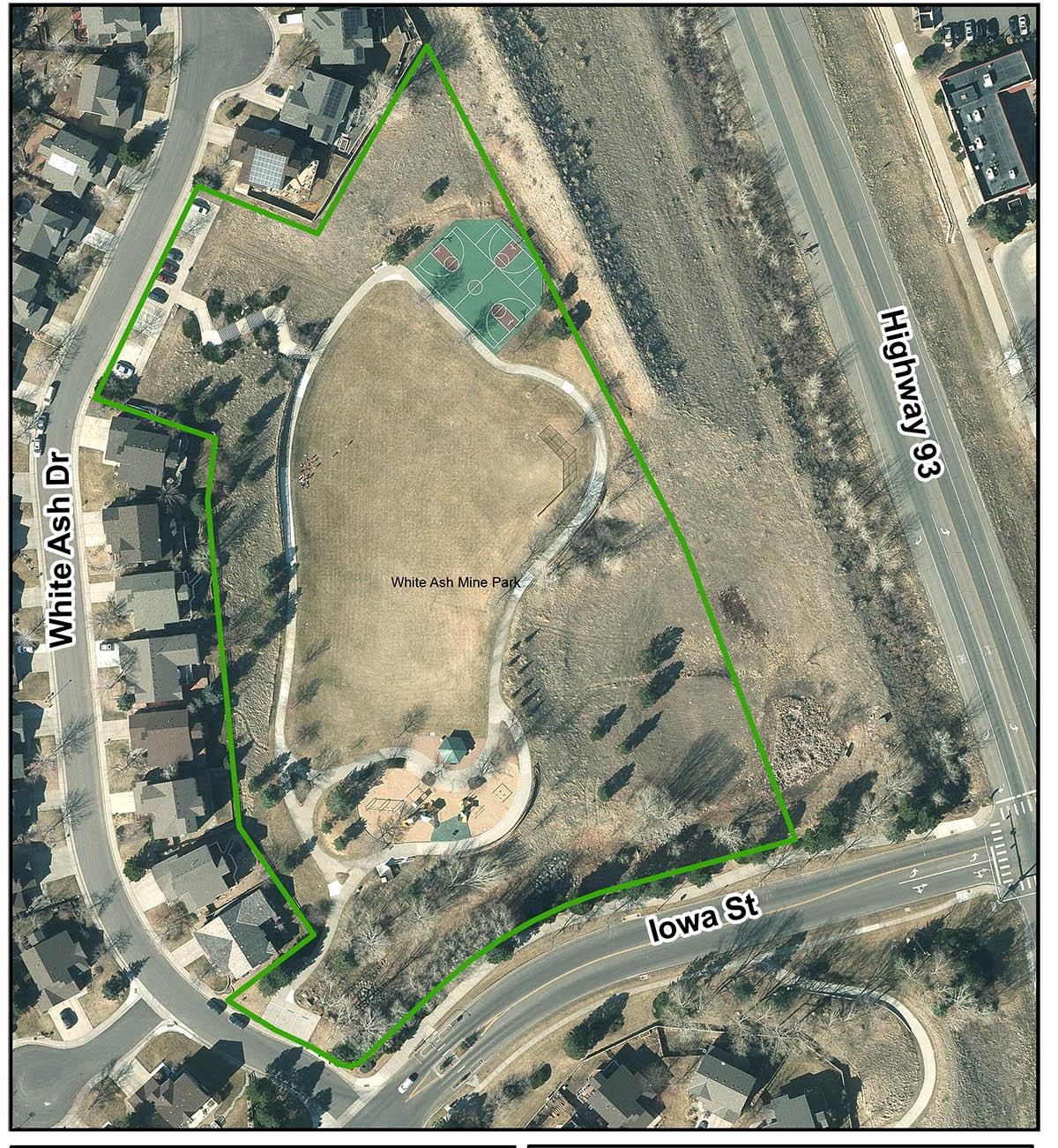 White Ash Mine Park Birds Eye View Map aerial view