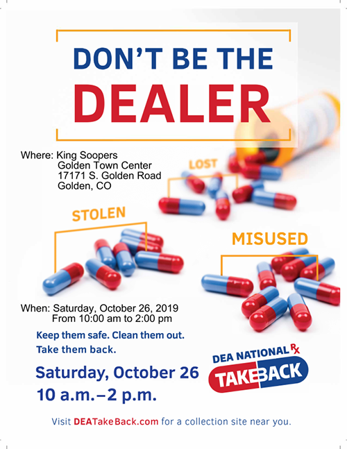 Drug Take Back poster October 26 10 am to 2 pm