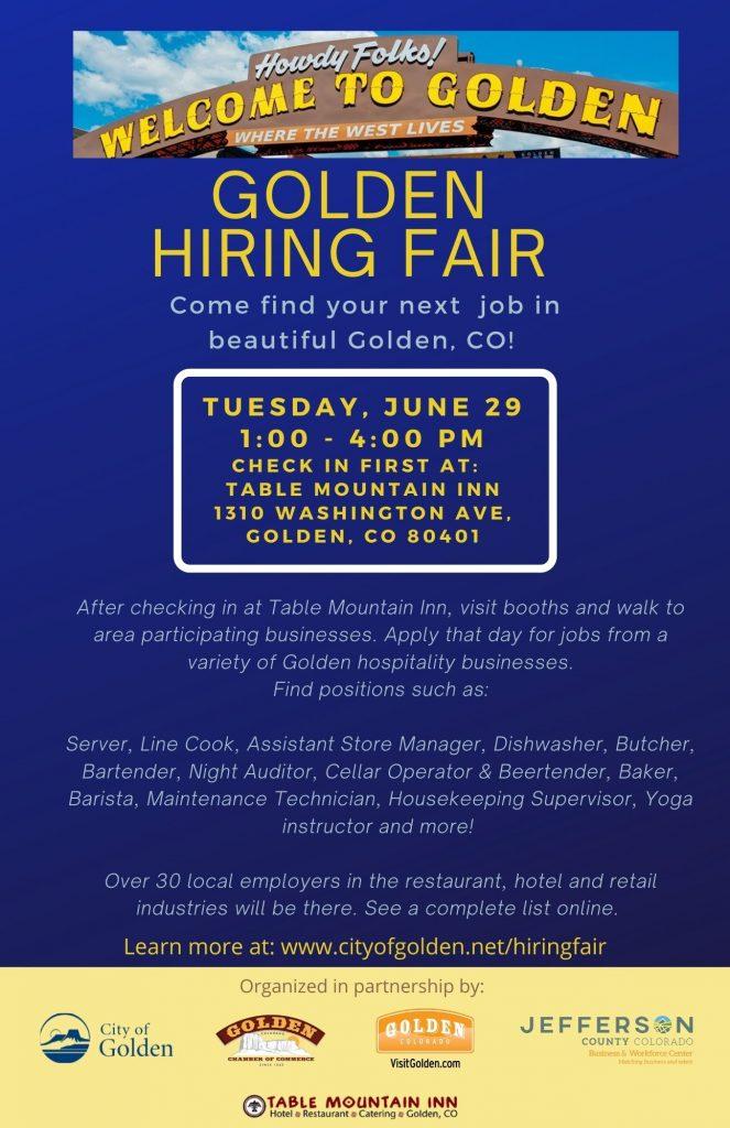 Golden Hiring Fair @ Table Mountain Inn | Golden | Colorado | United States