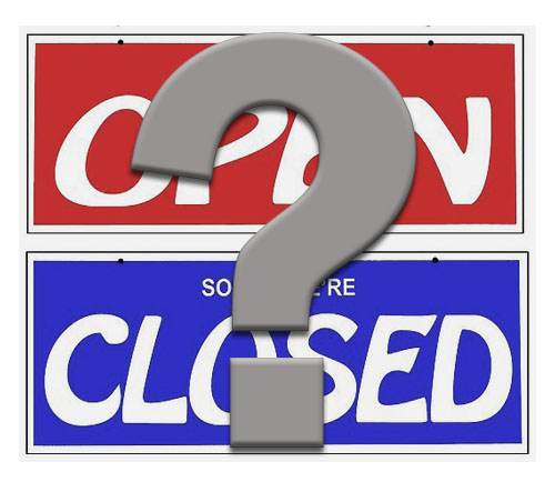 open and closed signs with a question mark floating over both