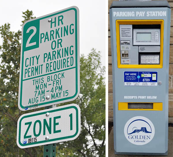 Parking sign and payment station
