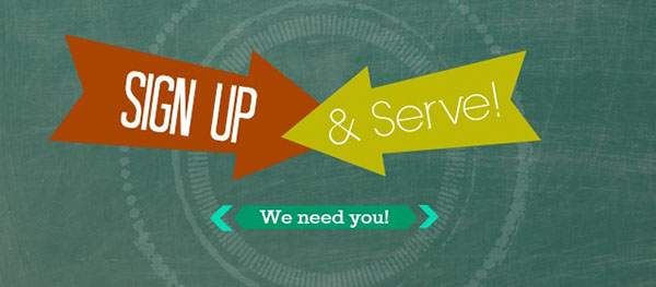 two arrows pointing at one another saying sign up and serve, we need you