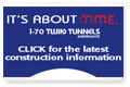 As blasting continues on the westbound I-70 Twin Tunnels project, you can find the most up-to-date information and schedules here.